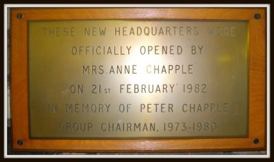 Commemorative plaque from the opening of 1st Woodley HQ on 21st February 1982